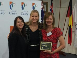Mellissa and Cathy receiving the Award from Councillor Crestani